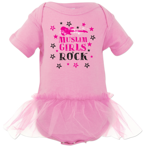 Muslim Girls Rock light pink tutu onesie