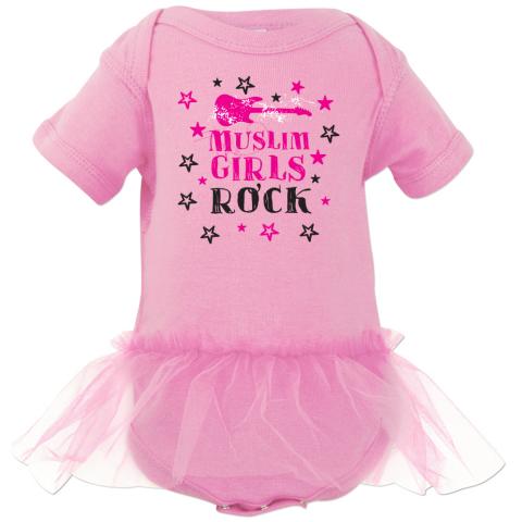 Muslim Girls Rock light pink tutu onesie